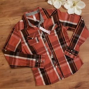 Juniors orange flannel shirt